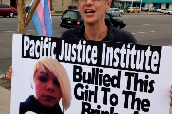 Protesting the lies of PJI targeting trans children